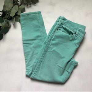 * J Crew corduroy skinny pants mint green size 29